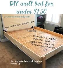 How To Make A Platform Bed Frame With Legs by Diy Wall Bed For 150 Diy Murphy Bed Wall Beds And Murphy Bed
