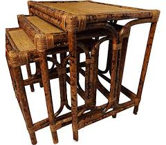vintage rattan nesting tables set of three rattan wicker nesting tables vintage american home
