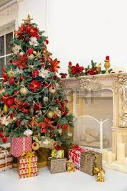 Decorative Christmas Gift Boxes Decorated Christmas Tree And Gift Boxes In Living Room Stock Photo