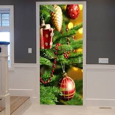 pine tree baubles pattern door stickers colormix cm