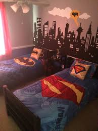 batman vs superman themed bedroom hand painted city scape mural