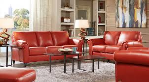 Coffee Table Rooms To Go Cindy Crawford Home Lusso Papaya Leather 2 Pc Living Room