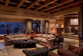 The Living Room Scottsdale Contemporary Living Room With Box Ceiling U0026 Limestone Tile Floors