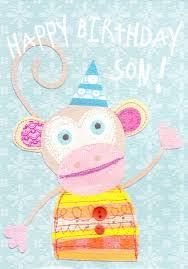 happy birthday son monkey birthday card karenza paperie