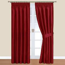 red pencil pleat lined curtains