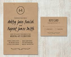 Wedding Invitation Card Diy Rustic Wedding Invitation Diy Kraft Paper Invitation Country