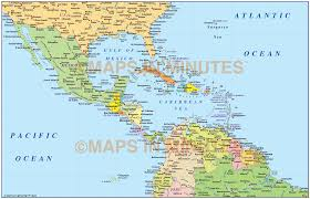 Central America Map And Capitals by Vector Digital Maps Gall Projection Basic 8 Region Map Set 10m