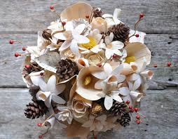 wood flowers pine cones wood and corn husk flowers bouquet accents and petals