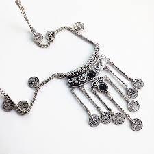vintage black pendant necklace images Boho vintage ethnic black stone pendant necklace coin bib choker jpg