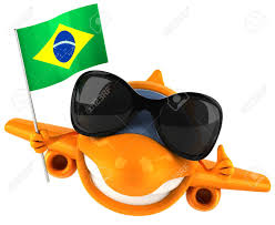 Flag Sunglasses Cartoon Airplane With Sunglasses And Flag Of Brazil Stock Photo