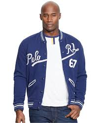 Big And Tall For Mens Clothes Polo Ralph Lauren Big U0026 Tall Baseball Jacket In Blue For Men Lyst