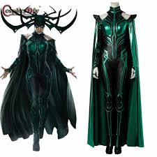 thor costume hela black and green costume with cloak marvel thor ragnarok