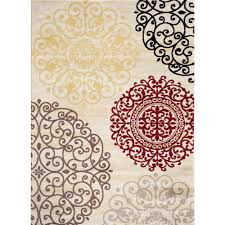 Rugs Modern by World Rug Gallery Contemporary Modern Floral Cream 2 Ft X 3 Ft