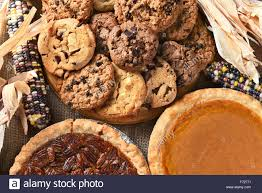 closeup of pies and cookies for a thanksgiving day feast desserts