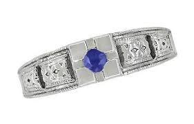 simple sapphire engagement rings deco filigree engraved blue sapphire engagement ring in