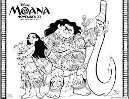 moana disney moana maui pet pig coloring pages printable