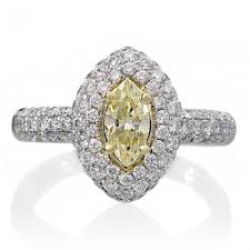 marquise diamond engagement ring diamond engagement ring pave halo setting yellow center