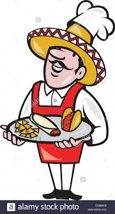 Illustration Of A Cartoon Mexican Chef Cook Wearing Chef Hat And