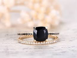 promise ring sets 7mm cushion cut black spinel ring set 2pcs solid 14k yellow gold