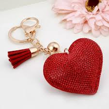 red key rings images Crystal red heart key chain gold chain with tassel car purses bag jpg