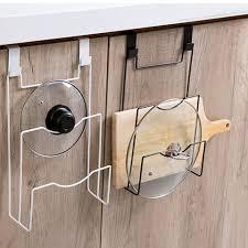 kitchen cabinet door pot and pan lid rack organizer kitchen door back iron storage rack pan lids holders nail free cupboard door hanger racks for chopping board pot covers