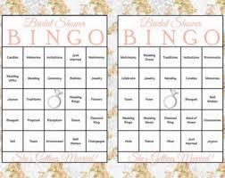 wedding words for bingo bridal shower bingo etsy