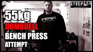 55kg flat dumbbell bench press attempt youtube