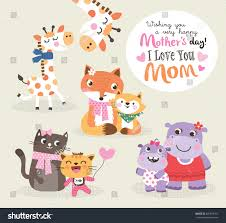 s day giraffe mothers day greeting card vector illustration stock vector