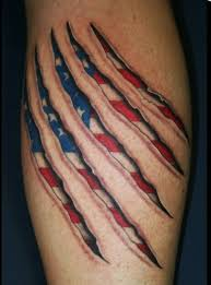 awesome 3d of flag seen thru claw marks amazing 3d