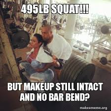 Squat Meme - hilarious model faking 495lb squat pics ngiggles