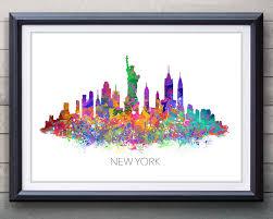 new york wall art etsy new york skyline watercolor art poster print wall decor watercolor wall art artwork