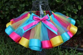 ribbon tutu girl s ribbon edge trim tutu turquoise yellow hot