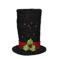 amazon com northlight lighted black tinsel snowman top hat