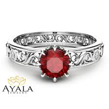 natural ruby rings images Natural ruby engagement ring unique 14k white gold ruby ring jpg