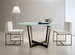 Unique Modern Round Glass Dining Tables Table  Sleek Intended - Modern glass dining room furniture