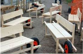 diy wheelbarrow benches mobile outdoor seating on a wheel