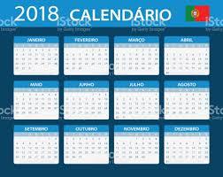Calendario 2018 Feriados Portugal Calendario 2018 Versión En Portugués Illustracion Libre De