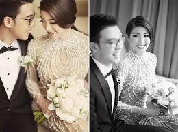 Wedding Dress Bandung 香檳色婚禮上令人驚艷的水晶珍珠刺繡婚紗 Asia Wedding Network