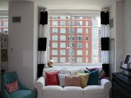 Black White Stripe Curtain Exquisite White Apartement Design With Ravishing Soft Sofa Ideas