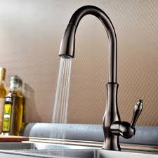 rubbed bronze pull kitchen faucet brass singel lever high arc pull kitchen faucet with