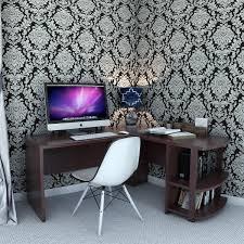 ameriwood l shaped desk with 2 shelves dark russet cherry