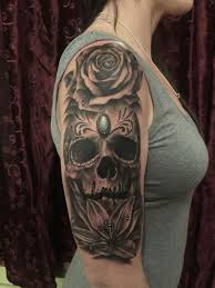 the map tattoos flower black and grey sugar skull