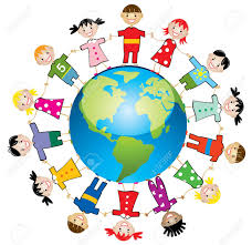 illustration of children around the world royalty free cliparts