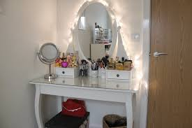 How To Decorate A Side Table by Monochrome White Makeup Table With Mirror And Lights Aside Black
