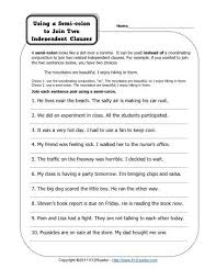 semi colons and independent clauses free printable punctuation