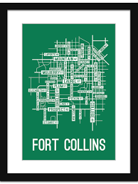 Elizabeth Colorado Map by Fort Collins Colorado Street Map Print Street Posters