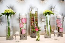 Wide Glass Cylinder Vase Reception Flowers Low Arrangements Rf04891 Pink And Green