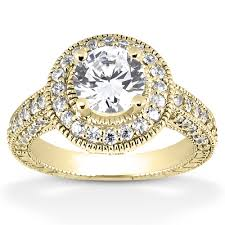 engagement ring gold antique halo cz engagement ring in 14k yellow gold