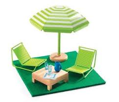 Modern Dollhouse Furniture Sets by Djeco Modern Doll House Furniture Set The Terrace Ebay