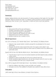 Cook Job Description For Resume by Professional Cafeteria Worker Templates To Showcase Your Talent